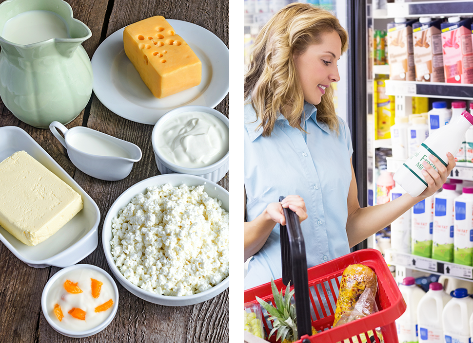 section-2-dairy-products.jpg/authentic dairy products spread out on a table; section-2-shopping.jpg/woman looking for certified dairy products at a grocery store